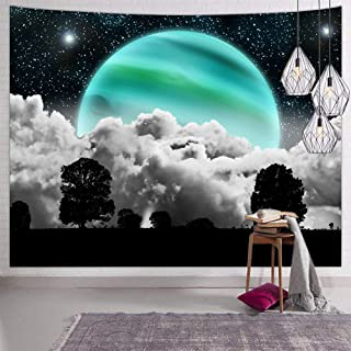 Hexagram Black and White Tapestry Wall Hanging Psychedelic Space Moon Wall Tapestry Hippie Tree Tapestries for Bedroom Living Room College Dorm