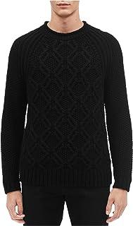 Mens Cable Knit Sweater, Black, Medium