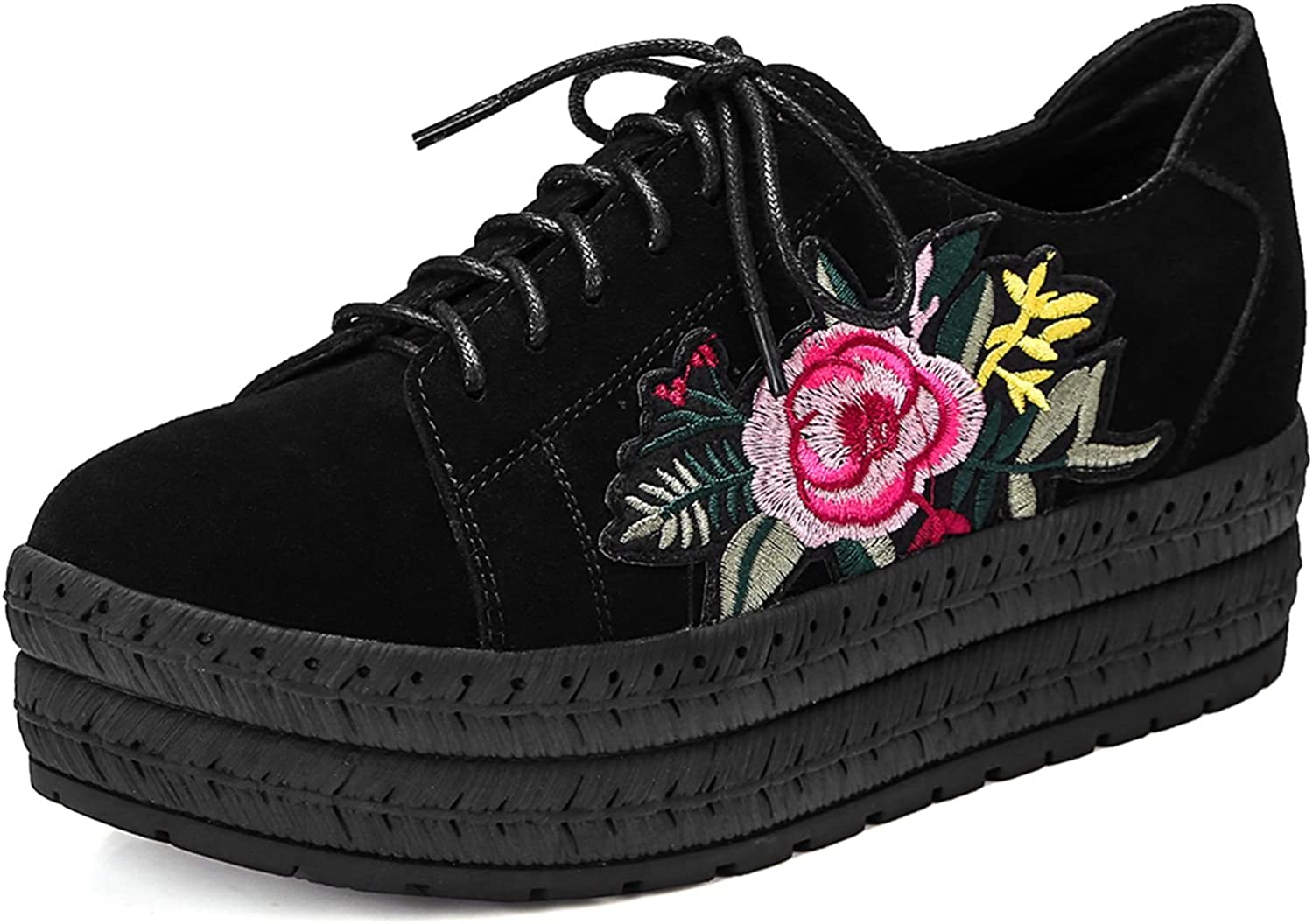 VIMISAOI Women's Embroidered Lace Up Casual Fashion Sneakers Platform Hidden Wedges shoes