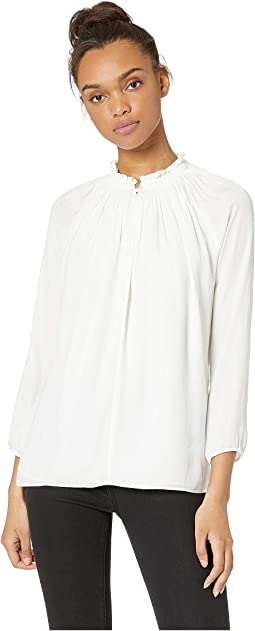Long Sleeve Top with Pleated Collar