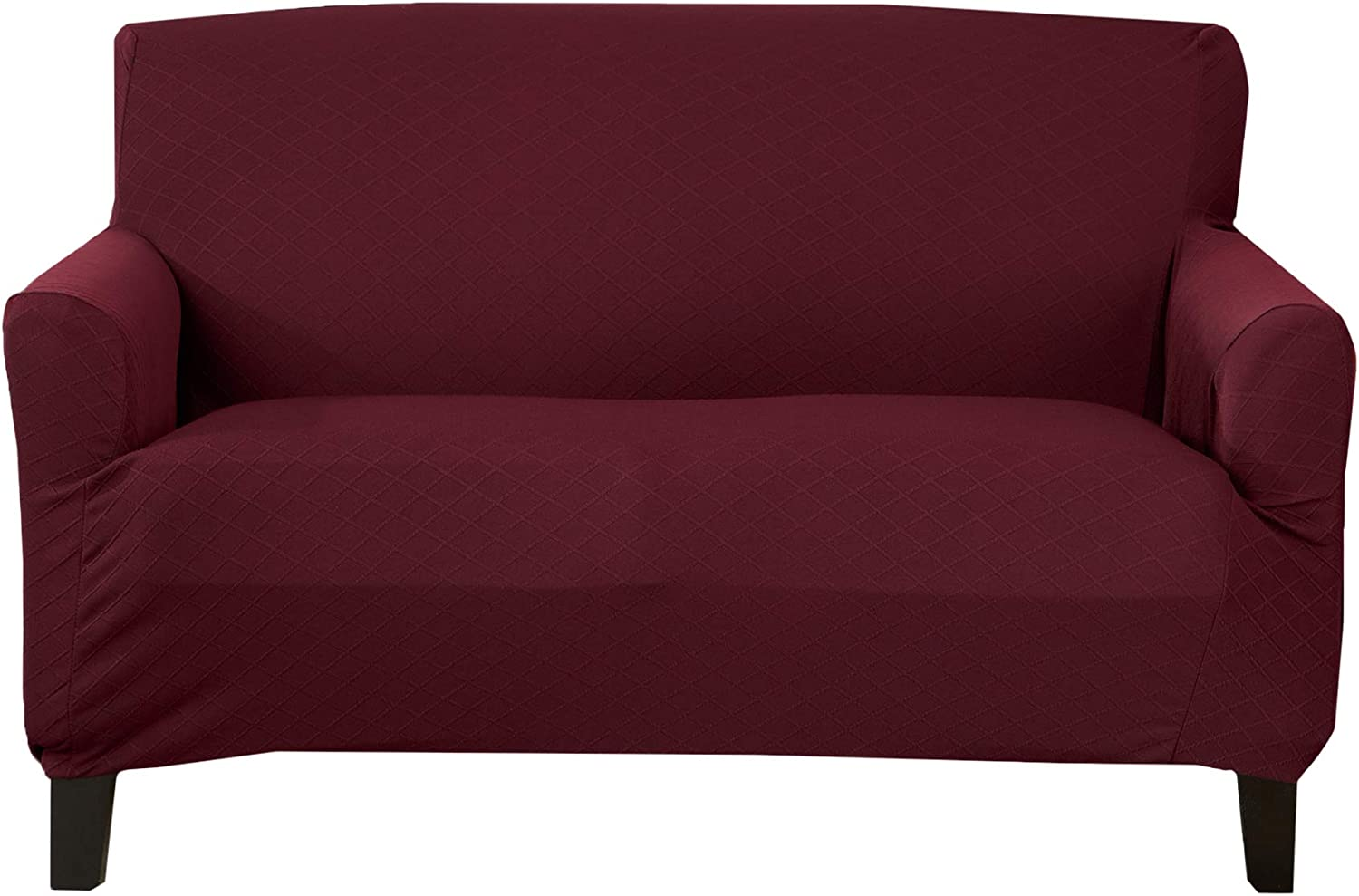 Textured Slipcover, Stretch Loveseat Slipcover. Decorative Cord/Rope Form Fit, Slip Resistant, Strapless Slipcover. Saria Collection (Love Seat, Burgundy)