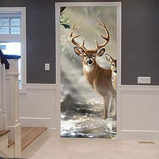 Türposter Möbelfolie Türtapete selbstklebend Hirsch mit Geweih Natur Tier Wald