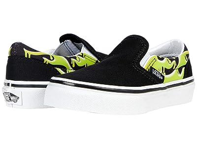 Vans Kids Classic Slip-On (Little Kid) ((Slime Flame) Black/True White) Boys Shoes
