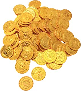 Super Cool 144 pack of Gold Plastic Pirate Coins Doubloons Pretend