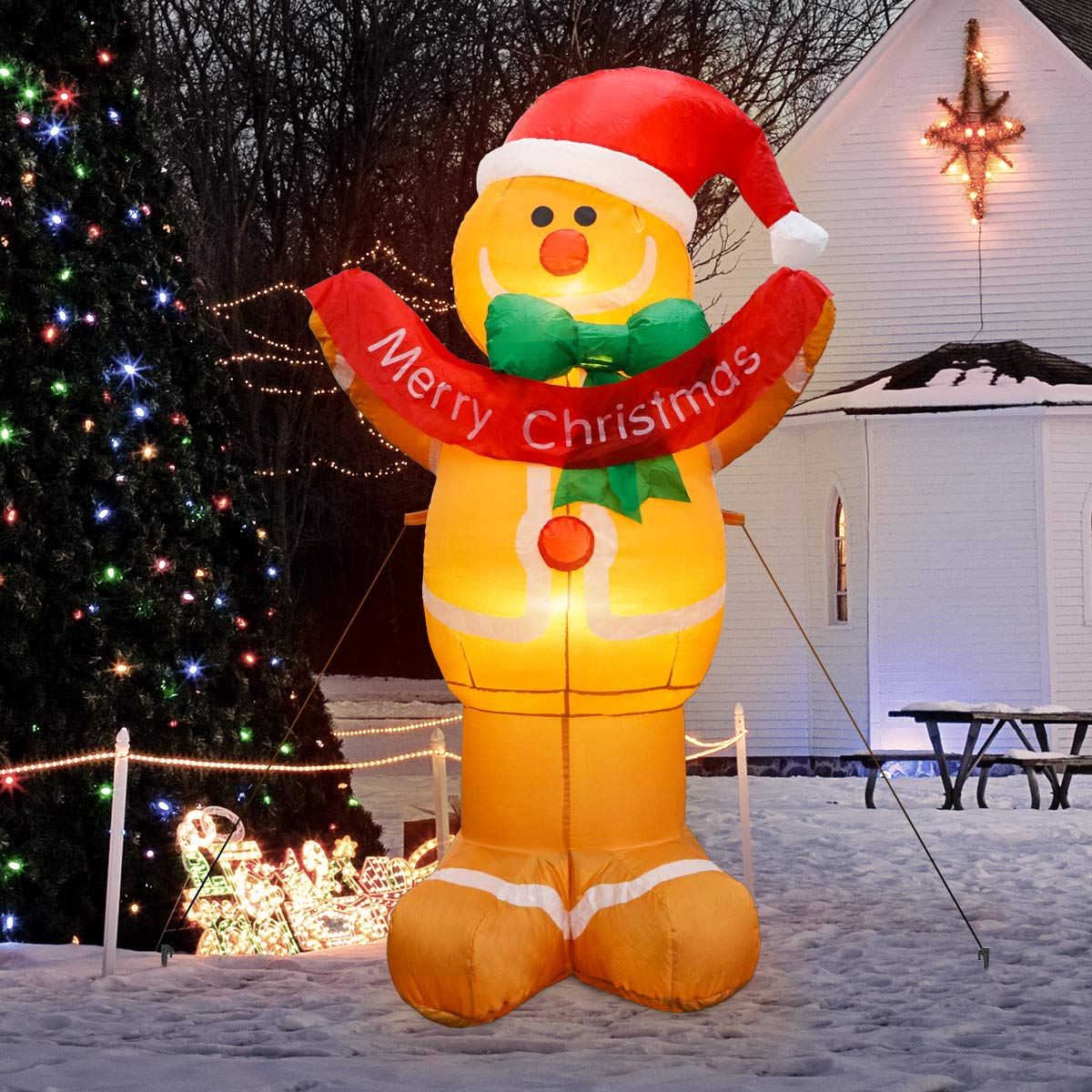 MerryXGift Christmas Inflatable Gingerbread Man 5ft Xmas Airblown Inflatable Blow up Decorations for Yard Outdoor Garden Lawn
