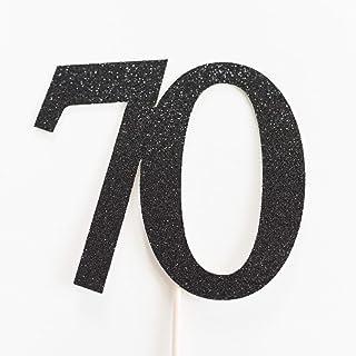 DKISEE Tarjeta de purpurina para 70 tartas, 70 cumpleaños, aniversario, setenta y setenta, purpurina negra, decoración de ...