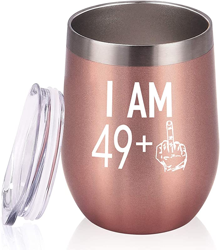 49 Plus One Middle Finger Wine Tumbler 50th Birthday Gifts For Women Turning 50 Funny Tumbler Gifts Idea For Best Friends Wife Mom Coworkers 12 Oz Insulated Tumbler Glasses Rose Gold