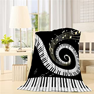 Flannel Fleece Bed Blanket 50 x 80 inch Music Decor Throw Bl