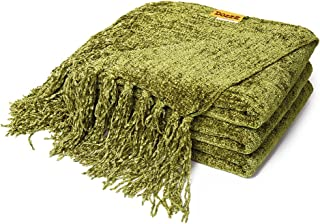 DOZZZ Fluffy Chenille Knitted Throw Blanket with Decorative Fringe For Home Decor Bed..