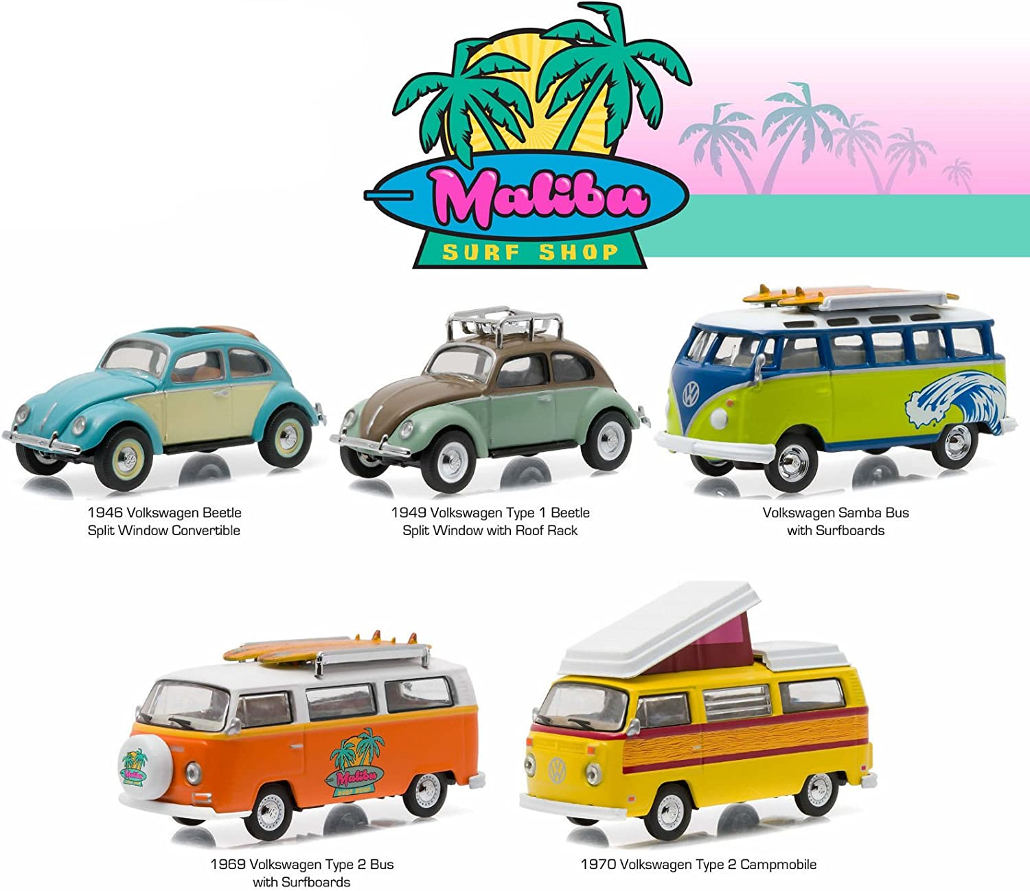 Malibu Surf Shop 5 Cars Motor World Diorama Set 1 64 by Grünlight 58029