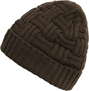 Durio Mens Knitted Hats Thick Fleece Lined Warm Winter Beanies for Men Solid Skull Caps Soft Slouchy Beanie