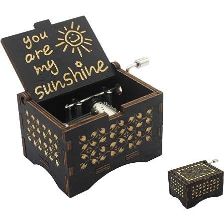 Jurassic Park Theme Music Box Black Wooden Cute Hand Crank Music Box for Gift