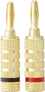 Monoprice 121821 12 Pairs of High-Quality Gold Plated Speaker Banana Plugs, Closed Screw Type