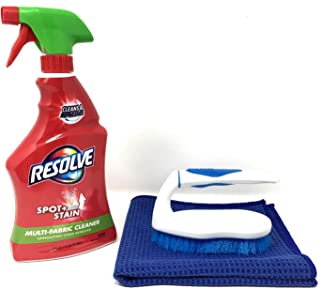 Resolve Multi-Fabric Spot Remover - Stain Remover, 22 fl oz Bottle, Upholstery Stain Remover Bundle with Scrub Brush and Microfiber Towel (Multi-Fabric Spot Remover)