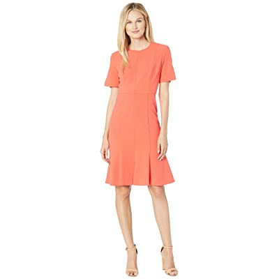 Donna Morgan Crepe Short Split Sleeve Fit and Flare Dress (Tea Rose) Women