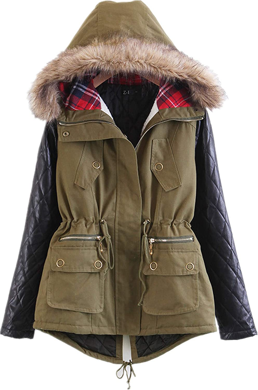 Allonly Women's Stylish color Leather Block Lightweight Cotton Coat Big Fur Hood Windbreaker Hoodie Jacket