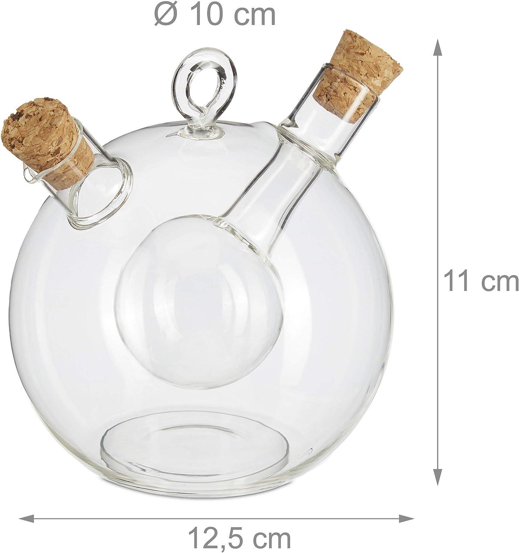 2 en 1 avec Bouchon de li/ège 375 et 50 ML Relaxdays 10027668 Bouteille Transparent vinaigre et Huile en Un