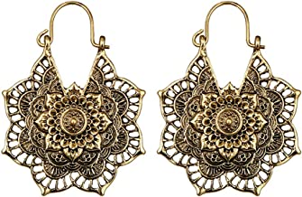 💗 Orcbee 💗 _Antique Silver Gypsy Indian Tribal Ethnic Hoop Dangle Mandala Boho Earrings