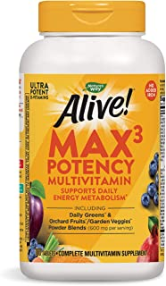 Nature's Way Alive! Max3 Daily Adult Multivitamin, Food-Based Blends (1,060mg per Serving) and Antioxidants, No Iron Added...
