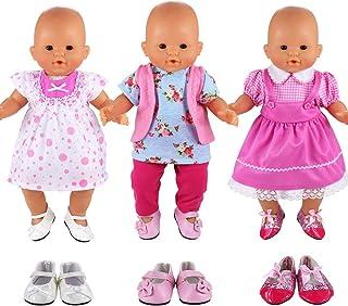 Lance Home 4 Conjuntos Vestidos de Ropa de Verano de Moda para Mu/ñecas de 14 a 18 Pulgadas Baby Born Mu/ñecas American Girl y Otras Mu/ñecas de 14-18 Pulgadas Mu/ñecas Reci/én Nacidas