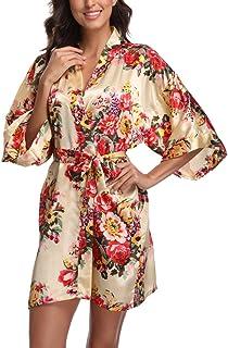 4a92d66991 Floral Satin Kimono Robes for Women Short Bridesmaid and Bride Robe for  Wedding Party
