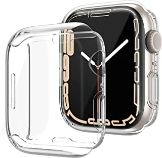 Case with Screen Protector Compatible for Apple Watch Series 7 45mm 2021,Soft TPU Full Face Cover Bumper Protective for iW...