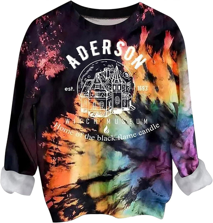 Halloween Sweatshirt for Women Tie Dye Rainbow Crewneck Long Sleeve Pullover Shirts Comfy Loose Hoodie Tops