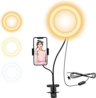 Selvim 2in1 進化版6インチリングライト 電気スタンド クリップ式 ビデオ通話用 自撮りスタンド 補光 自撮りLEDライト 美白効果 スマホスタント付き 360度回転可能 10階段調光 …