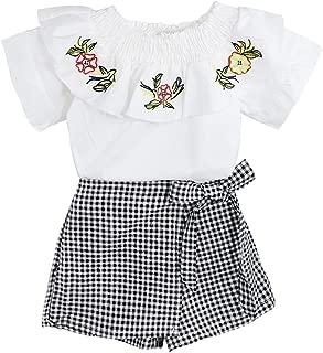 女孩衣服幼儿儿童褶皱领衬衫花朵上衣 + 格子短裤套装 2 件套