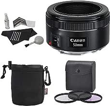 Canon EF 50mm f/1.8 STM Lens + Premium Polaroid Bundle Kit +Polaroid Optics 49mm 3 Piece Filter Set (UV, CPL, FLD) + Bower Lens Pouch + Polaroid Cleaning Kit + Polaroid Lens Cap & Strap