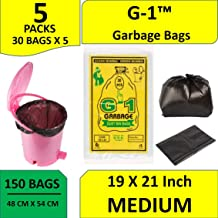 G-1™ 150 pcs - 19X21 Garbage Bags Medium Size Black Disposable Trash Waste Dustbin Bags of 54cm x 48cm