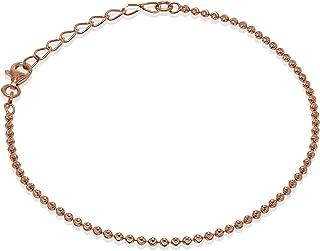 Romantico Casanova New Yorker Bead Chain Cavigliera (Rosé) 2 mm Donna in Argento 925 - Made in Italy - BEAD CHAIN - Lunghe...