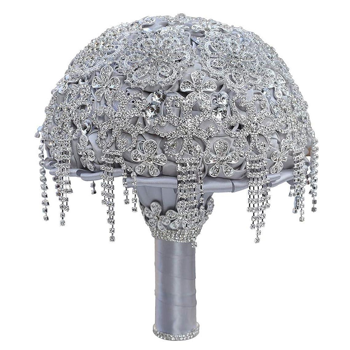 エンターテインメント家具わずらわしいウェディングブーケ ブライド花嫁のための結婚式のフルクリスタルダイヤモンドホールディング花束のための花のウェディングブーケ 造花 (Color : Silver, Size : 21x26cm)