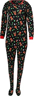Rene Rofe Ladies Sleepwear One-Piece Holiday Micro-Fleece Footed Onesie Sleeper Pajama