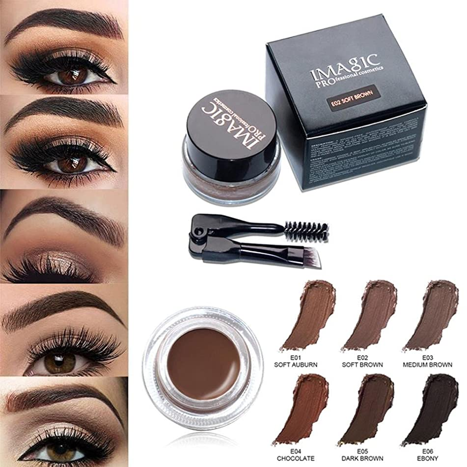 Eyeliner Gel Cream Set Water Proof Smudge Proof for Women Girls, Iuhan Last for All Day Long, Work Great with Eyebrow, Foldable Eye Makeup Brushes Included (Soft Auburn)