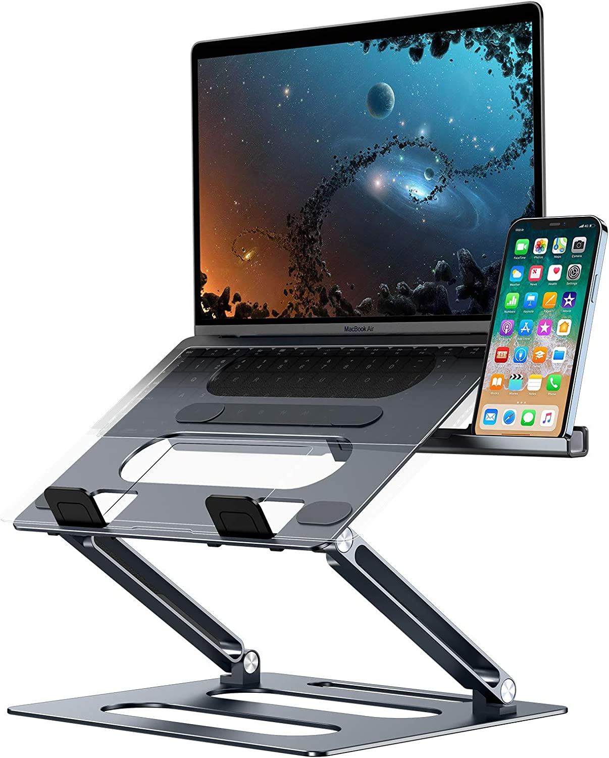 Laptop Stand, Xuenair Ergonomic Computer Stand Riser and Multi-Angle Bracket, Adjustable Height Laptop Holder with Phone Stand, Portable Notebook Stand for Mac, Lenovo More10-17 Laptop (Gray)