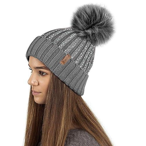c8f4d8d0e5c TOSKATOK Ladies Womens Girls Ribbed Knit Winter Beanie Bobble Hat with  Stylish Silver Gold Metallic Foil