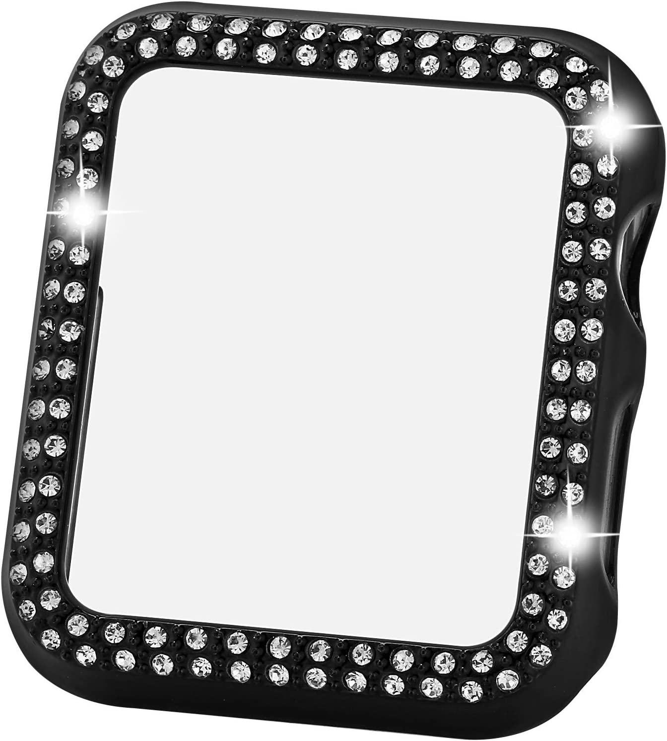Greaciary Sparkle Compatible with Apple Watch 40mm,Compatible with iWatch Face Bling Crystal Diamond Plate Cover Protective Frame for Apple Watch 5/4 Women( Double Rhinestone-Black, 40mm)