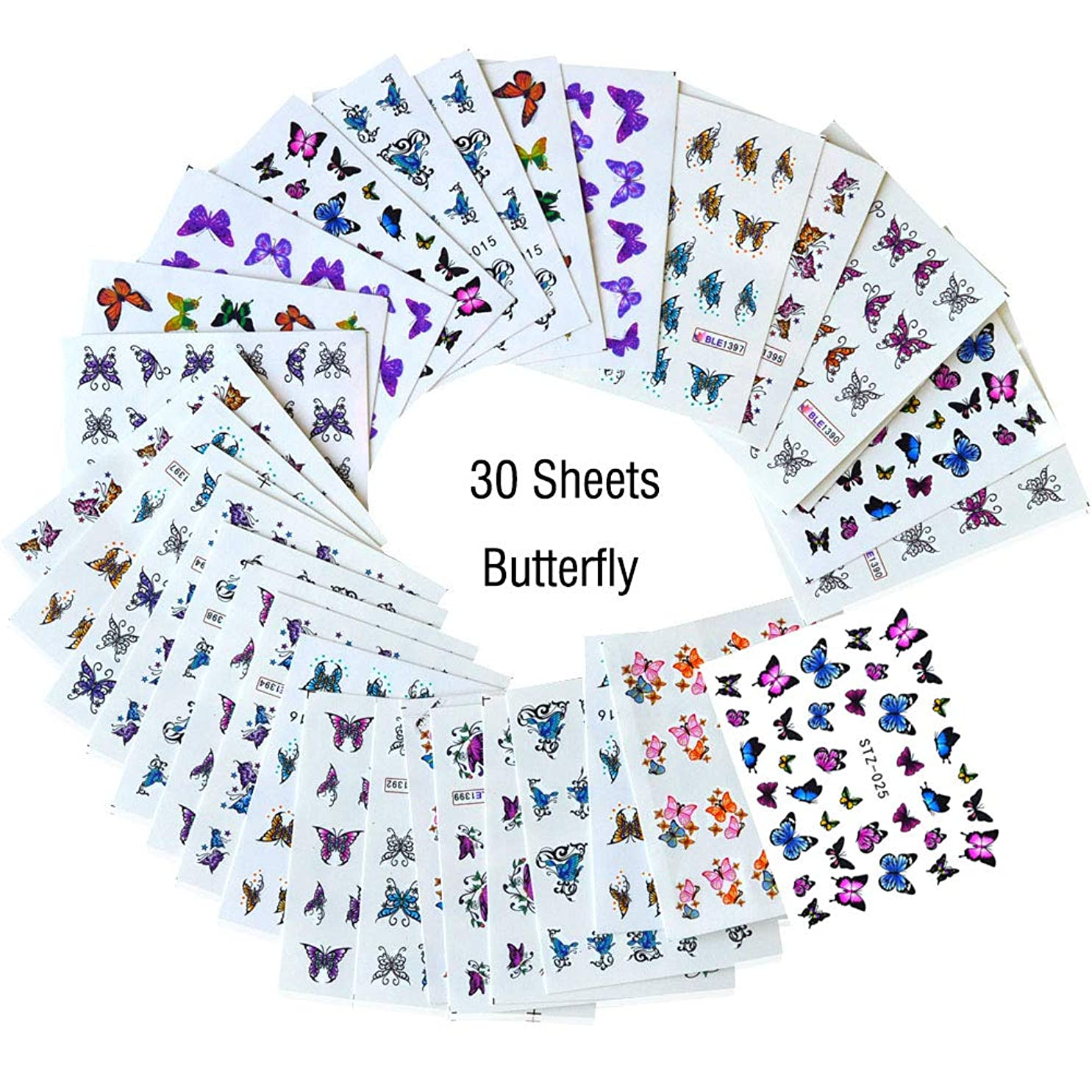 ガレージクラックポットストレージLookathot 30枚ネイルアートステッカーデカール蝶デザインパターン水スカイスター箔紙印刷転写diy装飾ツールアクセサリー