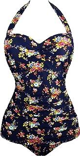 Vintage Halter Swimsuit Monokini One Piece Swimwear Bathing Suits