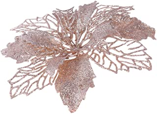 Artibetter 12 Piezas de Flores Artificiales de Poinsettia con Brillo Guirnalda de Navidad Adornos de Flores de árbol de Na...