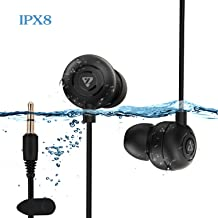 Waterproof Earbuds IPX8 Swimming Earphones in-Ear Headphones with Stereo Audio Extension Cable,Sport Earphones 100% Waterproof Swimming Earbuds(Black) VZ SPORT MATE