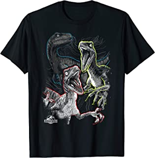 Jurassic World Raptor Squad Bright Outline Graphic T-Shirt