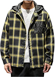 Gergeos Men's Button Down Shirt Plus Size Fashion Plaid Long Sleeve Casual Removable Hoodie T-Shirts Cardigan Outwear