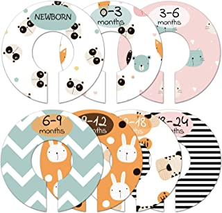 Baby Closet Size Dividers, Cute Animal Nursery Clothes Organizer, Baby Closet Dividers from Newborn Infant to 24 Months, B...