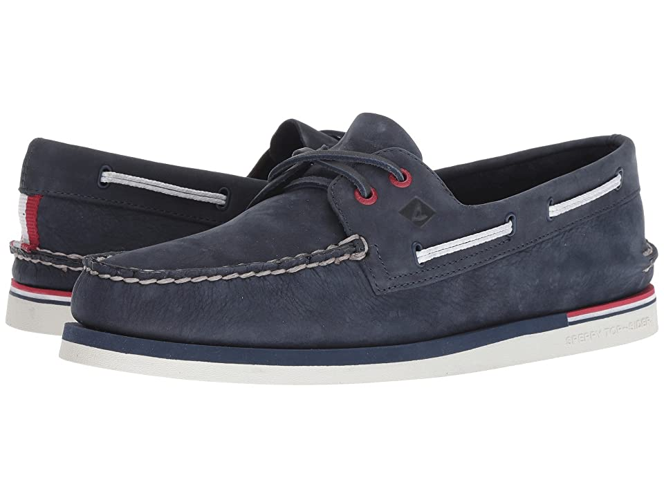 Sperry A/O 2-Eye Nautical Leather (Navy Leather) Men