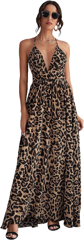 Floerns Manufacturer OFFicial shop Women's Mail order Deep V Neck Leopard Ma Backless Beach Crisscross