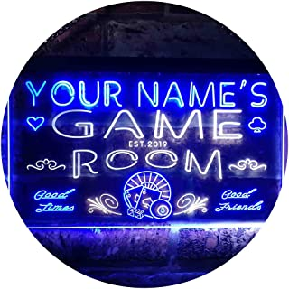ADV PRO Personalized Your Name EST Year Theme Game Room Man Cave Dual Color LED Enseigne Lumineuse Neon Sign Blanc et Bleu 600 x 400mm st6s64-PL1-tm-wb