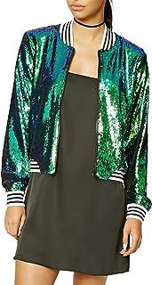 IRISIE Women Lightweight Glitter Sequin Long Sleeve Zipper Up Jacket