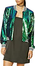 IRISIE Women Lightweight Glitter Sequin Long Sleeve Zipper Up Jacket